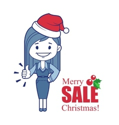 Holiday banner with Christmas character girl vector image