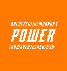 Italic serif font in the sport style vector