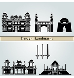 Karachi landmarks and monuments vector image
