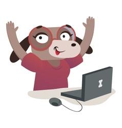 Nerd dog girl using a computer vector