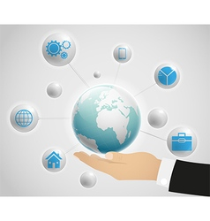 Network globe on the hand vector