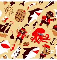 Pirates and sharks and nautical objects vector