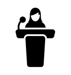 Public speaking icon female person on podium vector