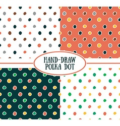seamless cute retro pattern Polka dot set vector image