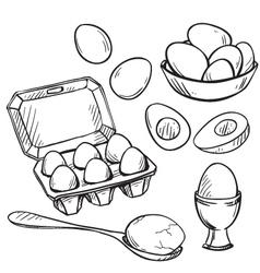 Set of eggs drawings vector image