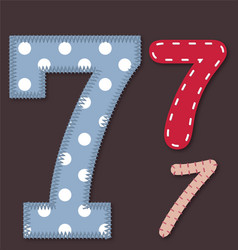 Set of stitched font -7 Seven vector image vector image
