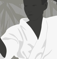 The boy is engaged in karate on a light background vector