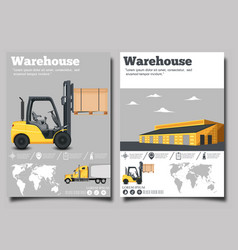 Warehouse flyer set with forklift truck vector