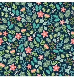 Wintery floral pattern vector
