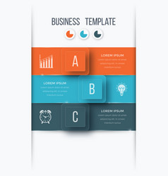 infographics template 3 options with square vector image