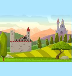 Castles on hills medieval landscape vector