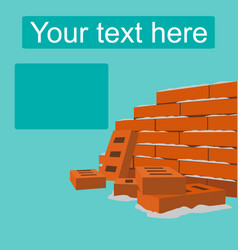 Brick wall flat style design vector