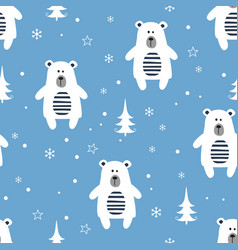 winter seamless pattern with cartoon polar bears vector image