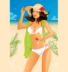 Sexy woman on beach vector