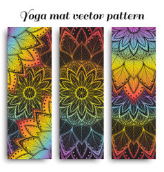 Set of yoga mat pattern with flower vector
