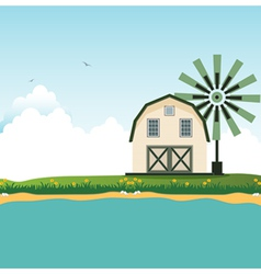Barn near border crossings vector
