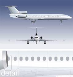Passenger jet tupolev 154 vector