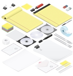 Office stationery detailed isometric icon set vector