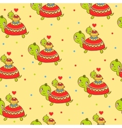 Seamless kids pattern with turtles vector