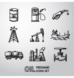 Set of handdrawn oil icons - barrel gas station vector image
