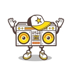 Cartoon boom box character design for tee vector