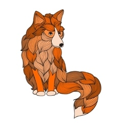 Fox with waves ornament vector