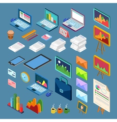Isometric office objects business elements set vector