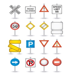 Danger road signs set vector