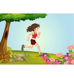 A girl running in a beautiful nature vector image vector image
