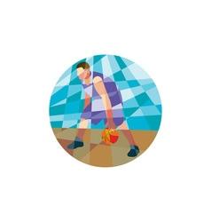 Basketball Player Dribbling Ball Circle Low vector image vector image