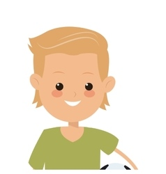 boy holding soccer ball icon vector image