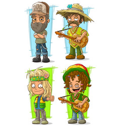 Cartoon redneck farmer with guitar character set vector