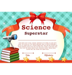 Certificate for science subject vector