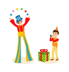 Clown entertains audience on cheerful celebration vector