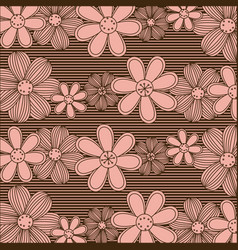 Color pattern of rows flowers with stripes vector