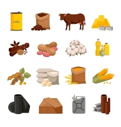Commodity flat icons set vector