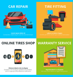 concept of auto tire service garage vector image vector image