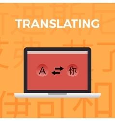Concept of translate work momentorange background vector