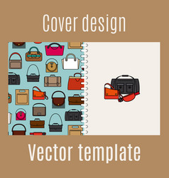 Cover design with diferent bags pattern vector