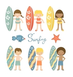 Cute collection of surfing kids vector