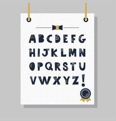 cute navy blue texture paper cut font set vector image vector image