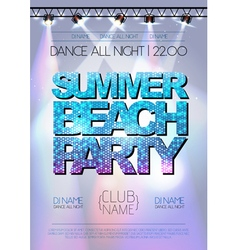 Disco background summer beach party poster vector