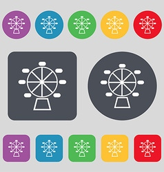 Ferris wheel icon sign a set of 12 colored buttons vector