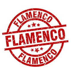 Flamenco round red grunge stamp vector