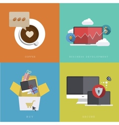 flat modern icons on sample background vector image vector image