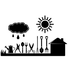 Gardening tools set on farm landscaping vector