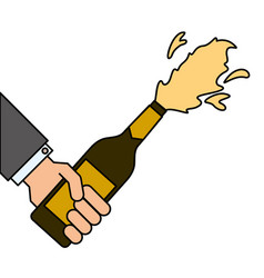 hand holding champagne bottle explosion event vector image