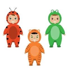 Kids party outfit children in animal carnival vector