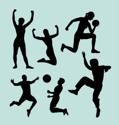 people sport male and female action silhouette vector image