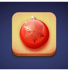 Red christmas ball on a wooden stand icon ios vector